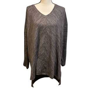 Suzanne Betro Gray Casual Long Sleeve Sweater Top
